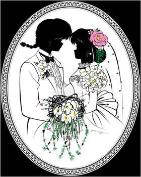 R1/2 - Ranma and Akane wedding silhouette portrait