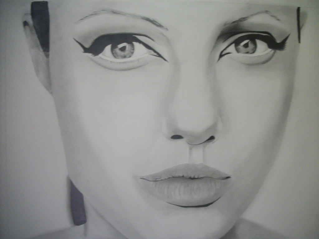 Portrait Drawing Of Angelina Jolie By Etbirdie