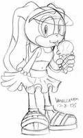 Cream eating ice cream...