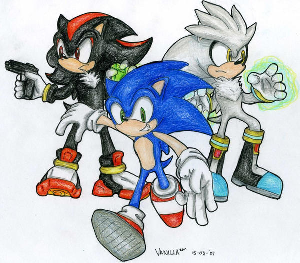 how to draw sonic shadow and silver together