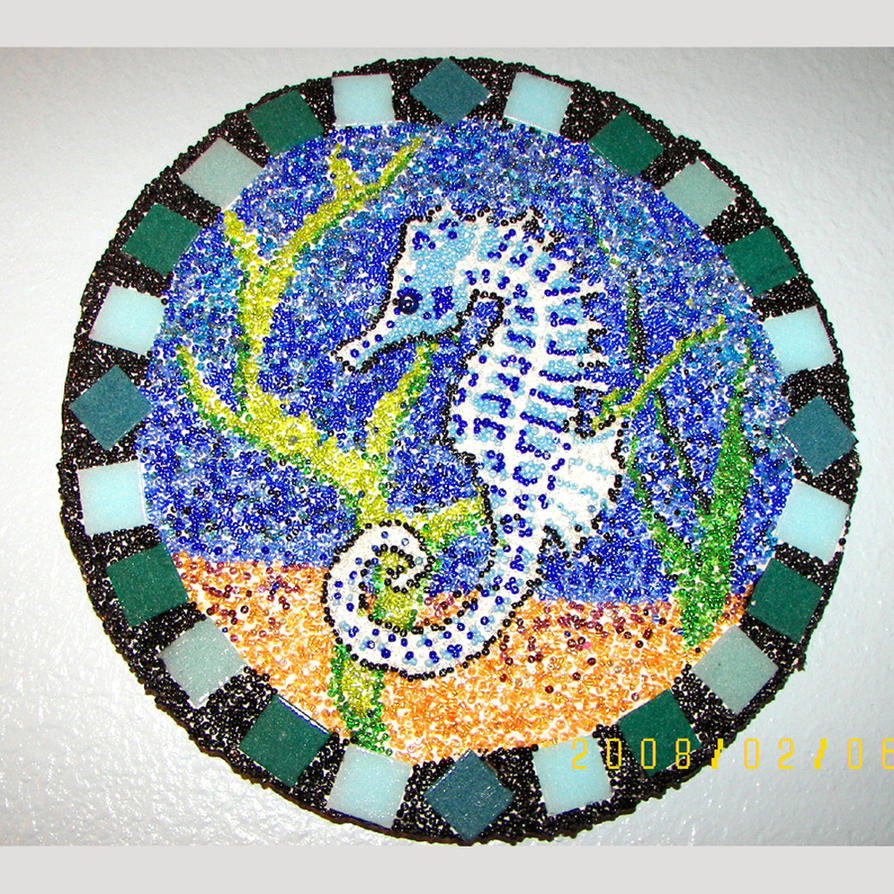 Seed bead mosaic Seahorse by peripheral-visions