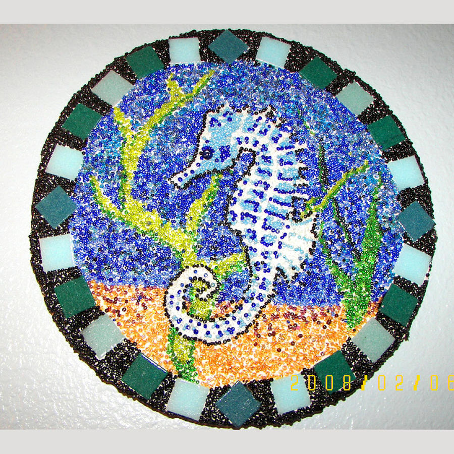 Seed bead mosaic Seahorse by peripheral-visions