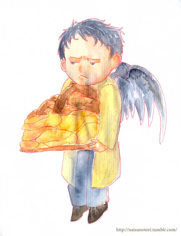 Castiel and pie by summer-birds