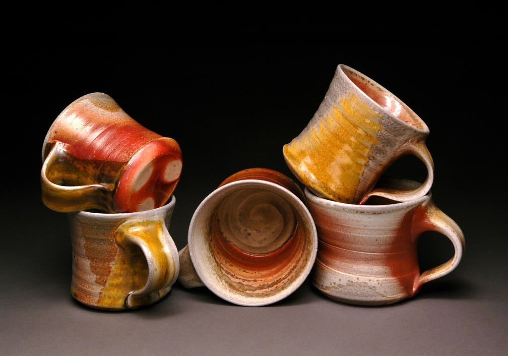 Wood Fired Mugs with Shino and Teadust Stripe by MBrownCeramics