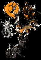 Foxes by BasiliskZero