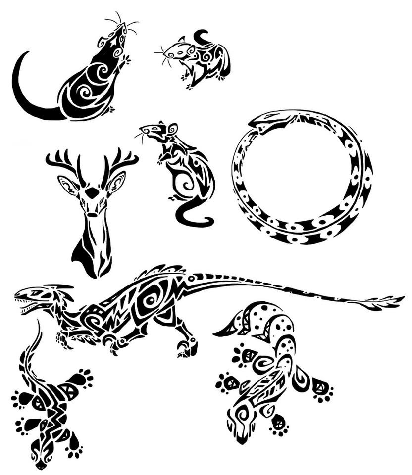 tribal rats and lizards by basiliskzero on deviantart. Black Bedroom Furniture Sets. Home Design Ideas