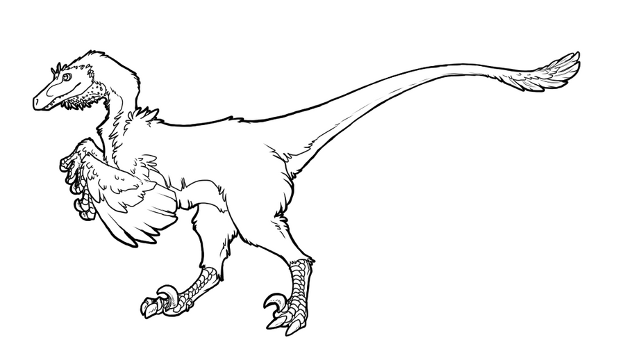 Line Art Dinosaur : Free raptor lineart by basiliskzero on deviantart