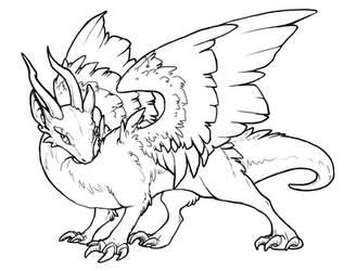 Free Dragon Lineart by BasiliskZero