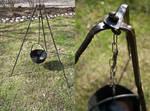 Iron cauldron and tripod