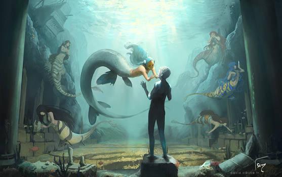 La jeune sirene et la statue