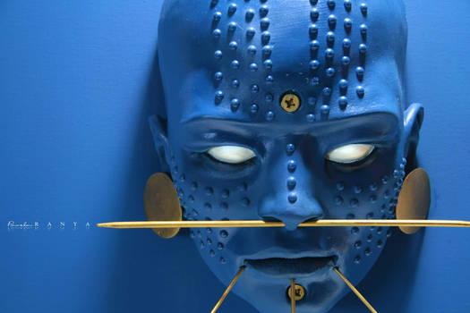 Blue Indigenous Sculpture