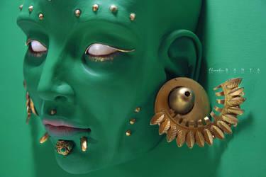 Green Creature - sculpture