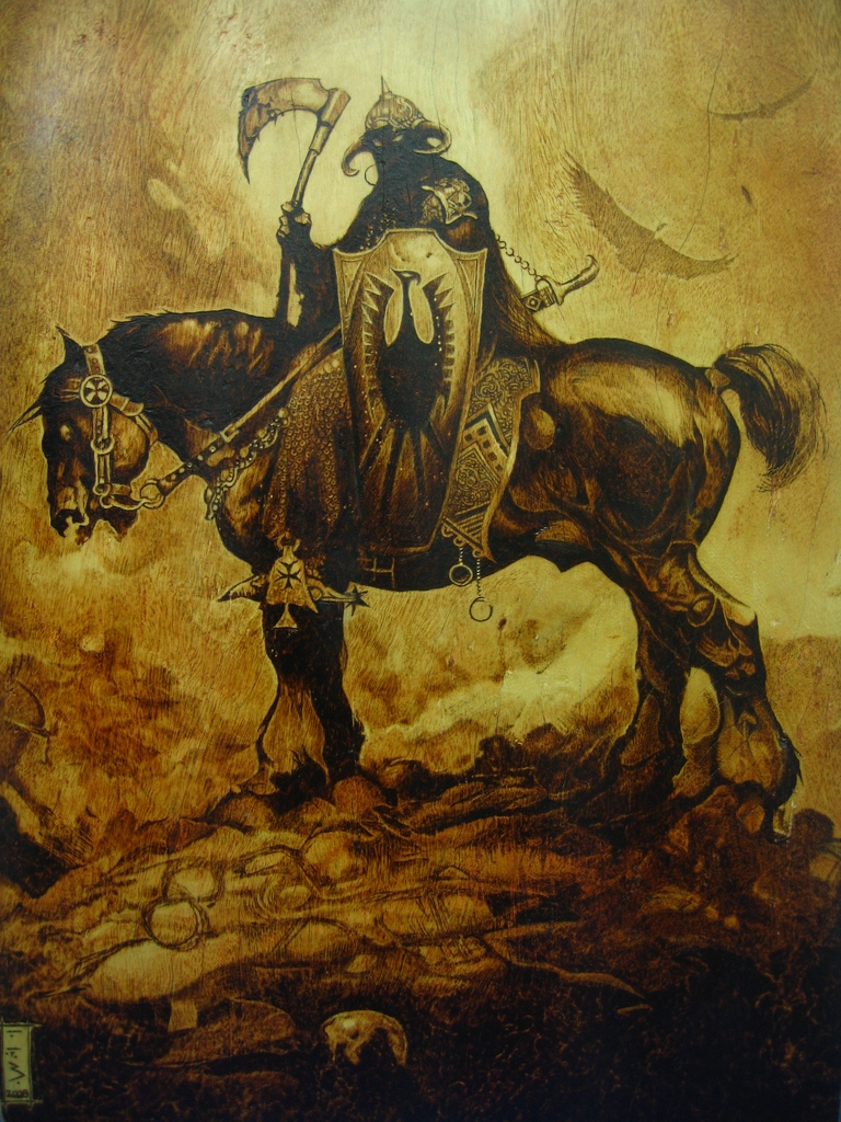 Frank Frazetta's Deathdealer pyrography by burninginkworks