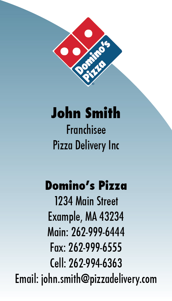 domino s pizza business card template by steffanegrace on