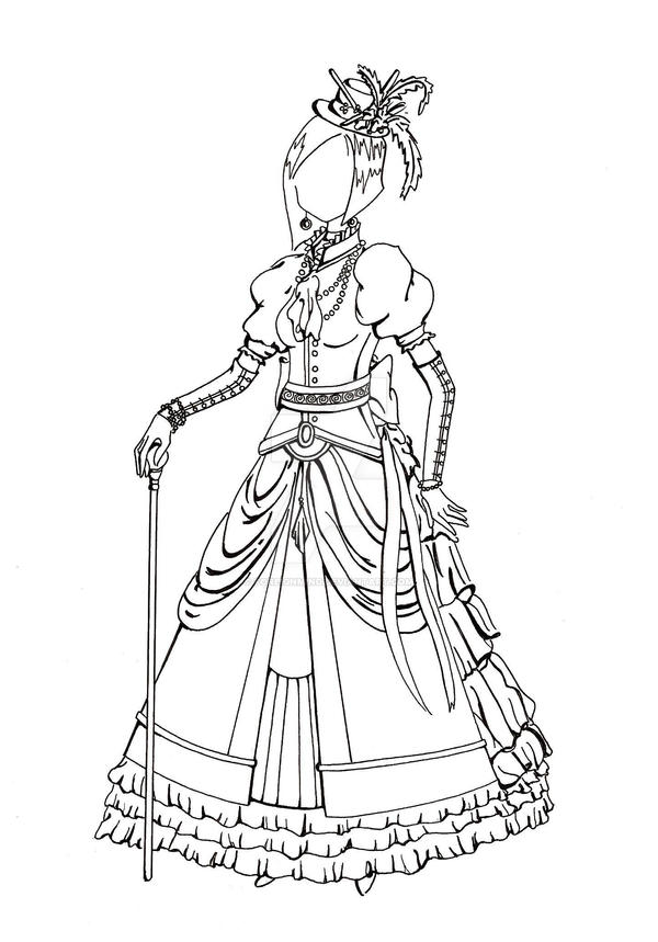 Colour Line Art Design : Victorian dress lineart by foreignmind on deviantart