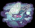 Gigantamax Butterfree flying through the Night Sky