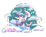 Lugia flying with Latias and Latios (Night Ver.)