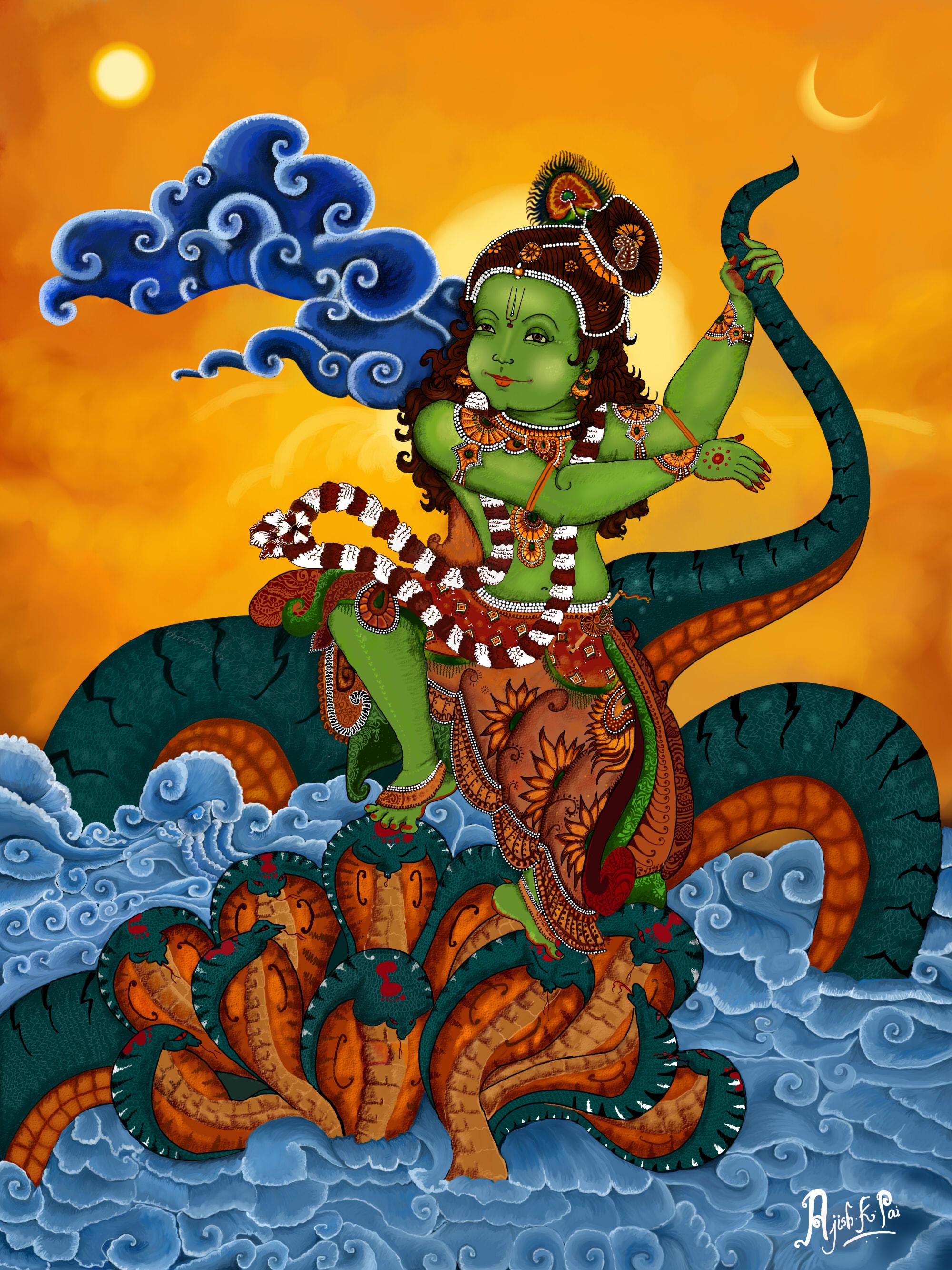 Bhagwan Krishna Black Snake Photo Gallery for free download