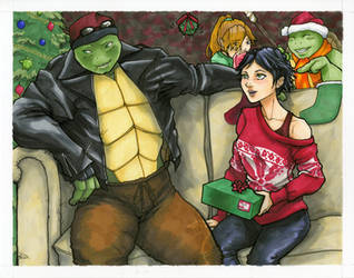Raph, Dom, Cat, Mikey, and Mistletoe! by Mariah-Bryant