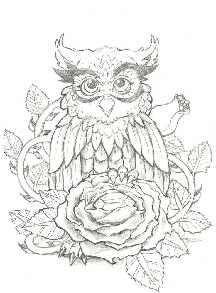 Cute Owl with Diamond and Rose Tattoo Design by ...