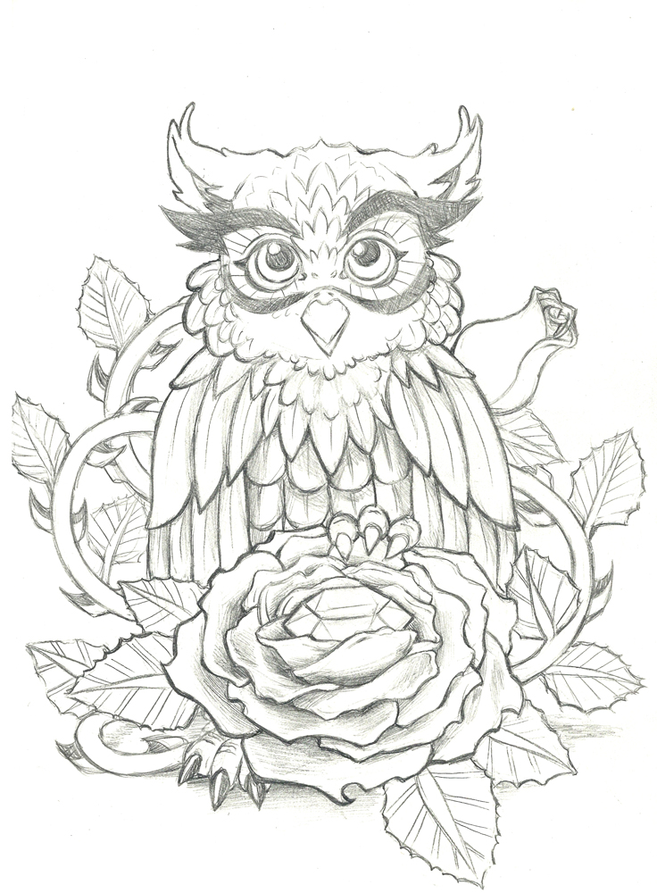 cute owl with diamond and rose tattoo design by