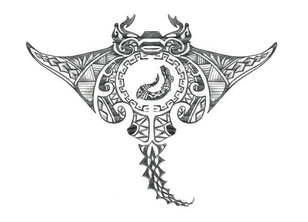 Hawaiian Tribal Sting Ray With Fish Hook Tattoo By