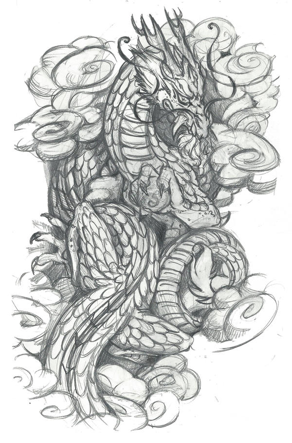 Asian dragon tattoo design with clouds by srtaquesadilla for Chinese clouds tattoos
