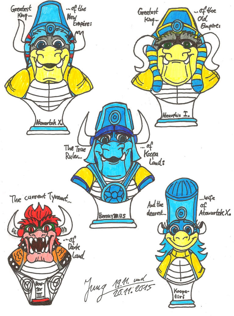 Busts of four great Mushroom Rulers and a Tyrant by HeinztheBlueGiant
