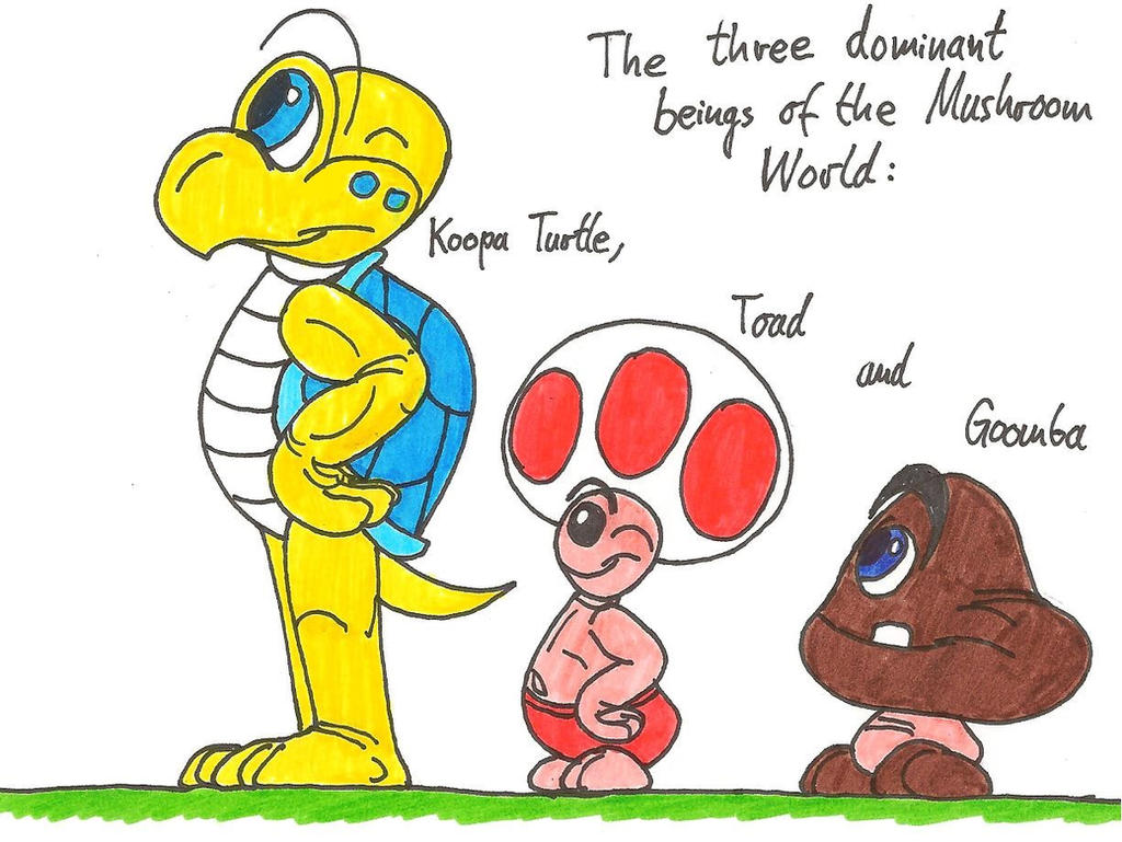 Koopa Turtle, Toad and Goomba by HeinztheBlueGiant