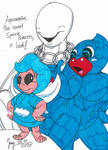 Uisgealag and Pepsiman with Aquamarina by HeinztheBlueGiant