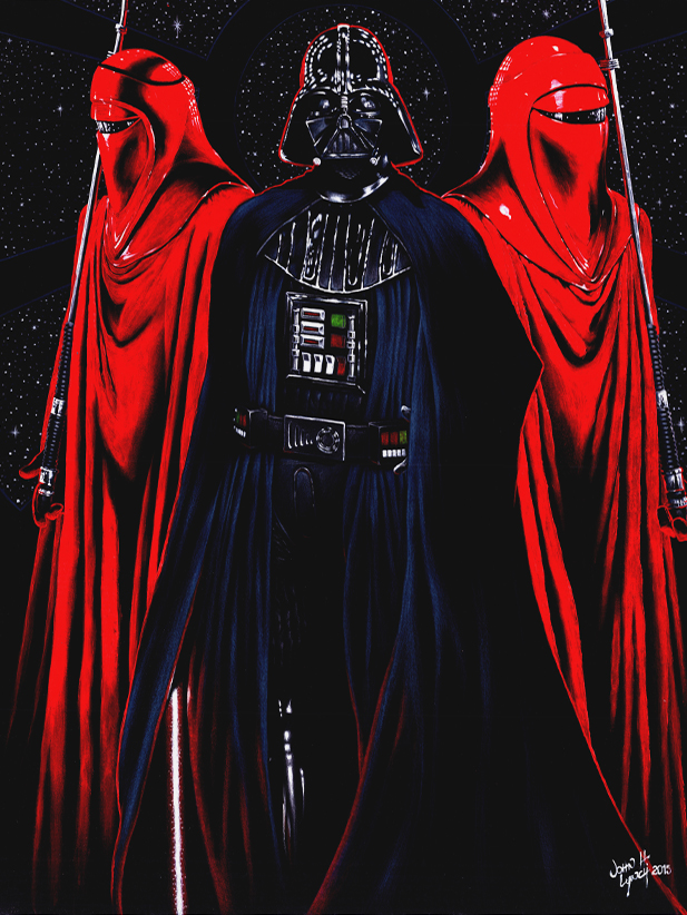 Darth Vader and the Red Imperial Guards sml by JohnHLynch