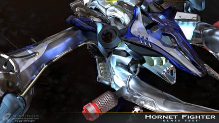 Hornet fighter - glass previs Closeup