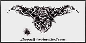Celtic snakes and a rose