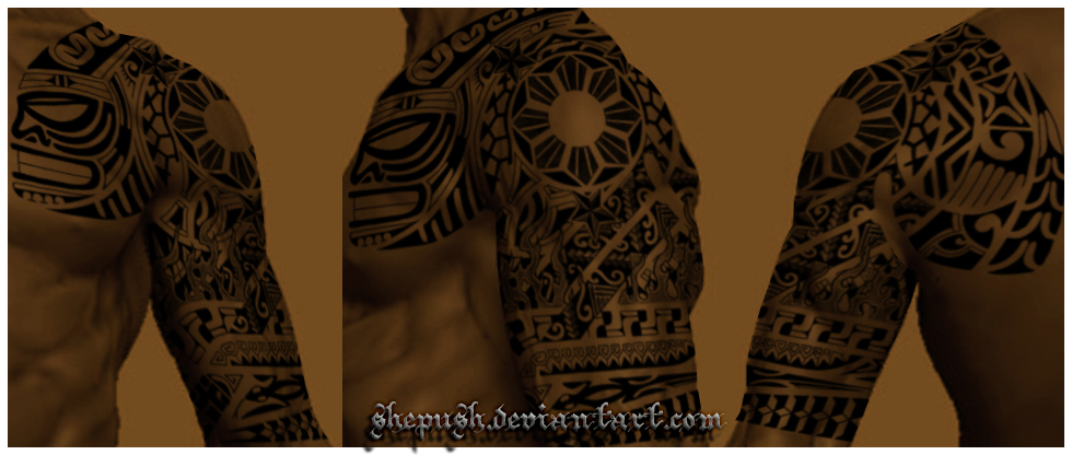 sleeve tattoo. tribal half