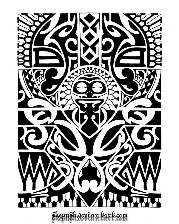 Hawaiian tribal arm tattoo designs