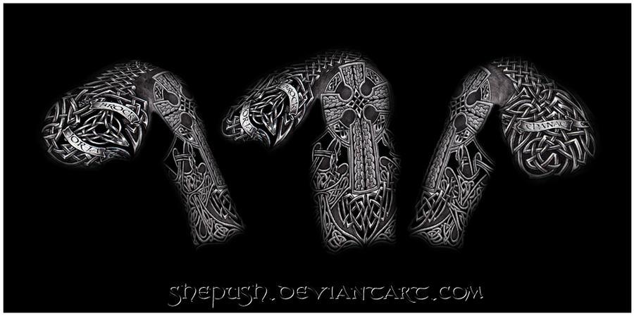 celtic half sleeve by shepush on deviantart. Black Bedroom Furniture Sets. Home Design Ideas