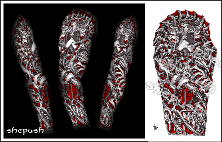 Bio mech sleeve by shepush on DeviantArt
