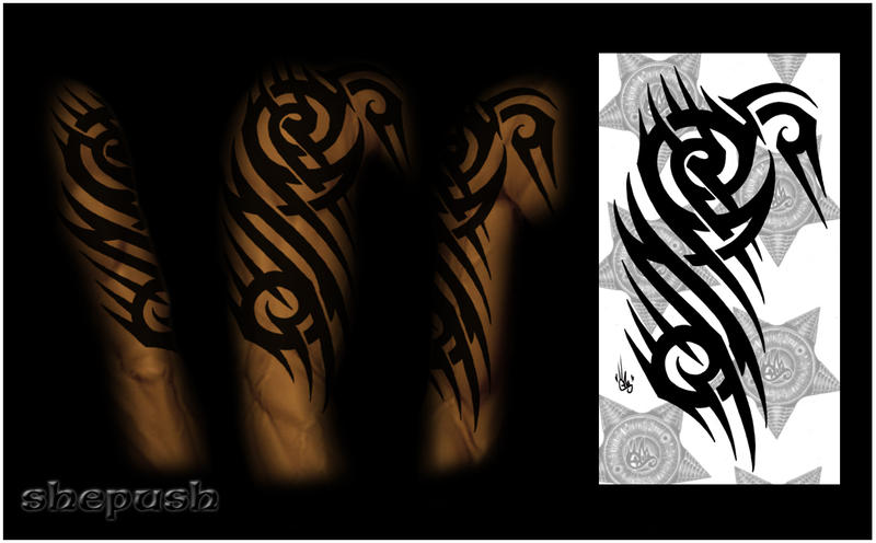 half sleeve tribal color by shepush on deviantart. Black Bedroom Furniture Sets. Home Design Ideas
