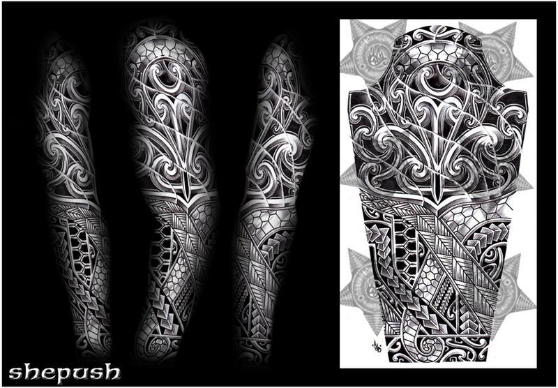 Polynesian Tribal Sleeve Tattoo