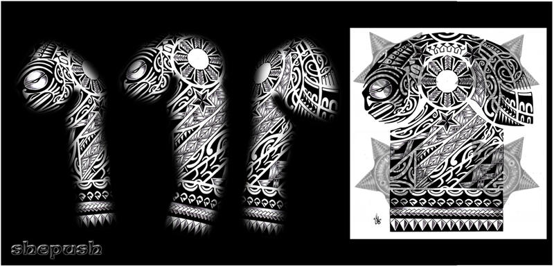Hawaiian Tribal Tattoos Sleeves 3-4 Sleeve Polynesian Tribal
