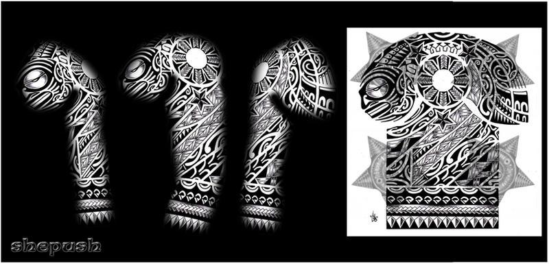 Hawaiian Tribal Tattoos Sleeves 3-4 Sleeve Polynesian Tribal