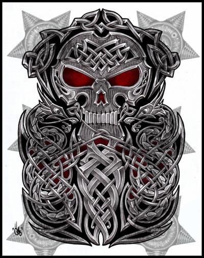 celtic skull half sleeve by shepush on deviantart. Black Bedroom Furniture Sets. Home Design Ideas