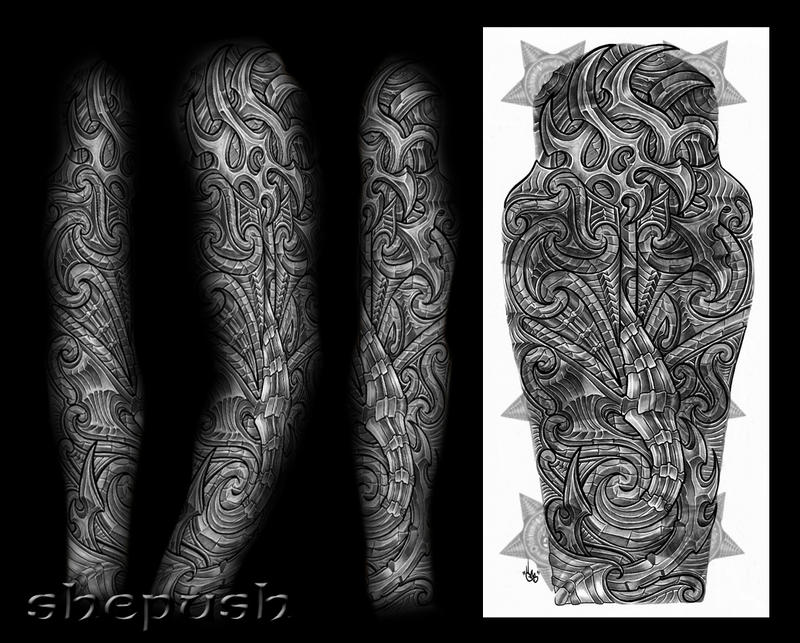 bio maori mix full sleeve by shepush on deviantart. Black Bedroom Furniture Sets. Home Design Ideas