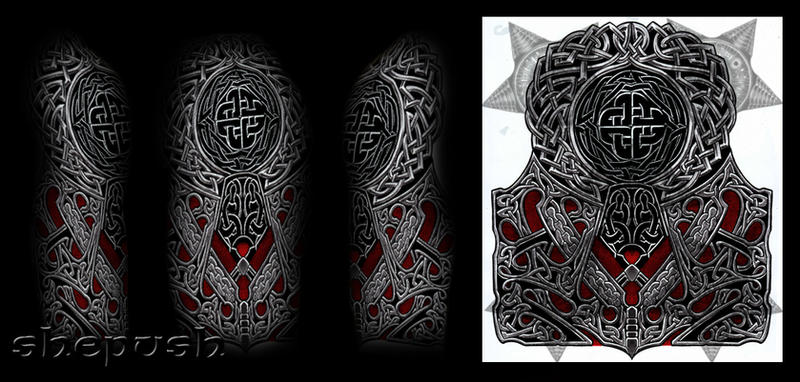 celtic style half sleeve by shepush on deviantart. Black Bedroom Furniture Sets. Home Design Ideas