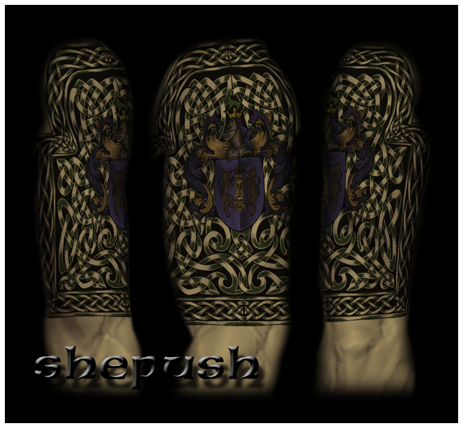 celtic half sleeve with crest by shepush on deviantart. Black Bedroom Furniture Sets. Home Design Ideas