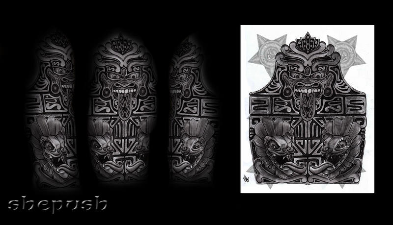 aztec half sleeve by shepush on deviantart. Black Bedroom Furniture Sets. Home Design Ideas