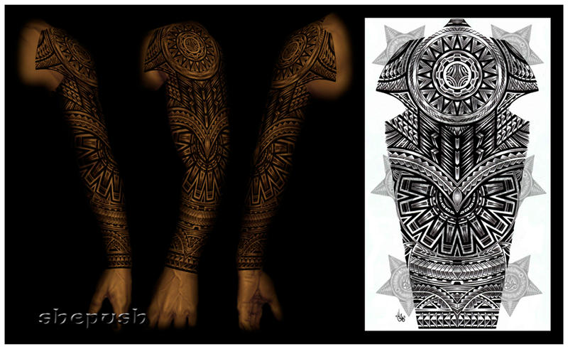 tribal full sleeve by shepush on deviantart. Black Bedroom Furniture Sets. Home Design Ideas