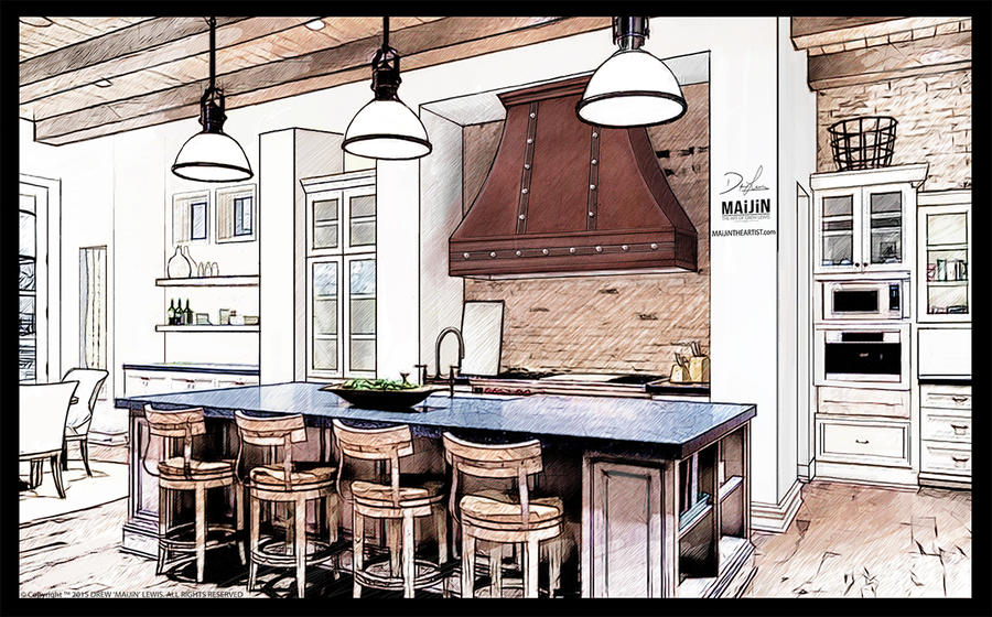 Kitchen Interior Concept Design #1 by MAiJiNTHEARTIST on DeviantArt