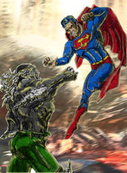 Superman Vs Doomsday Colour with Background by ModernDayDandy