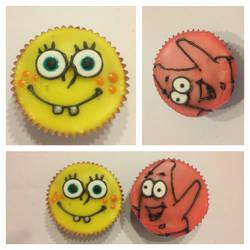 Spongebob and Patrick Cupcakes by Llama-Lloon